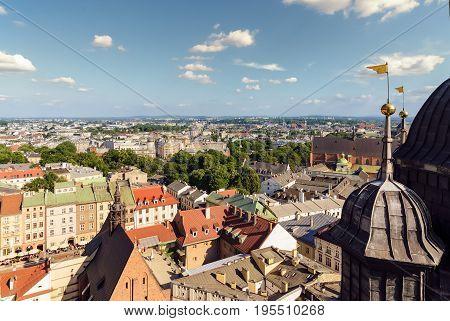 Krakow urban areas. Afternoon photo. Poland Europe.
