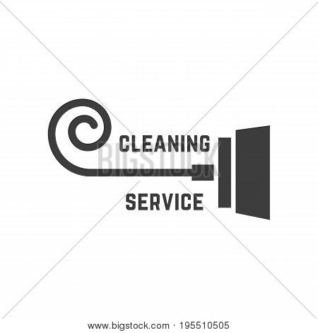 vacuum cleaner like cleaning service logo. concept of housekeeper, housekeeping emblem, cleanup, company mark. isolated on white background. flat style trend modern brand design vector illustration