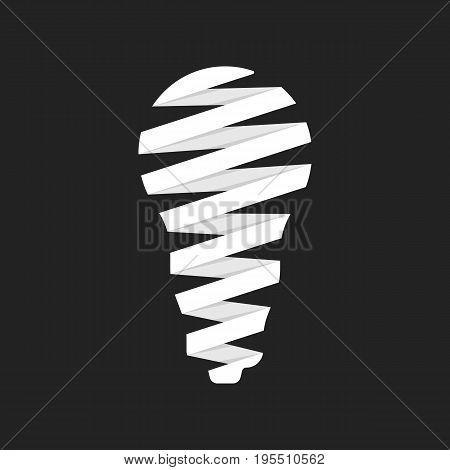 led bulb icon like origami. concept of illumination, eco friendly, save electricity, environmental care, ecological. isolated on black background. flat style trend logotype design vector illustration