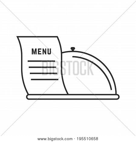 thin line dish and menu icon. concept of flatware, culinary, cooking, haute cuisine, restaurant service. isolated on white background. flat style trend modern logotype design vector illustration