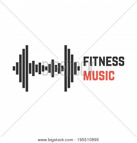 fitness music with dumbbell equalizer. concept of rhythm, eq, motivation, heartbeat pulse, music for training. isolated on white background. flat style trend modern logotype design vector illustration
