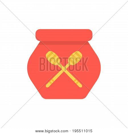 red honey pot simple icon. concept of diet, vegan, honeypot, nutritious, herbal meal, nutrient, mead, apiary. isolated on white background. flat style trend modern logo design vector illustration