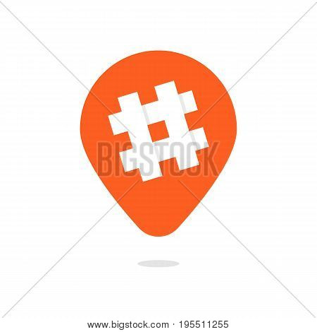 orange pin with hashtag icon. concept of number sign, social media popular app, micro blogging, pr popularity. isolated on white background. flat style trend modern logotype design vector illustration