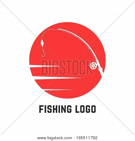 simple red fishing logo. concept of leisure, active holiday, spinning, company badge, wildlife, sportfishing. isolated on white background. flat style trend modern brand design vector illustration