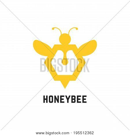 abstract honey bee sign. concept of visual identity, promotion, syrup, liquid sweetness, honeyed nectar. isolated on white background. flat style trend modern brand design vector illustration
