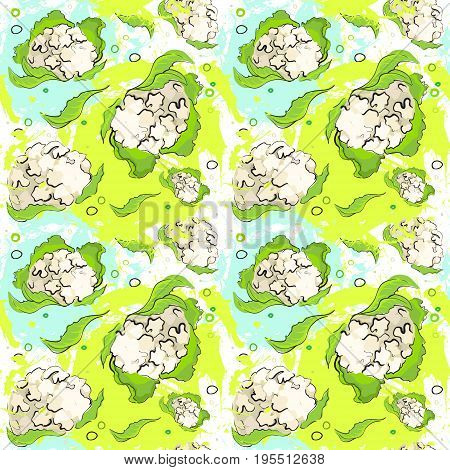 Seamless Pattern Cauliflower Vegetables Ornament Background Vector Illustration