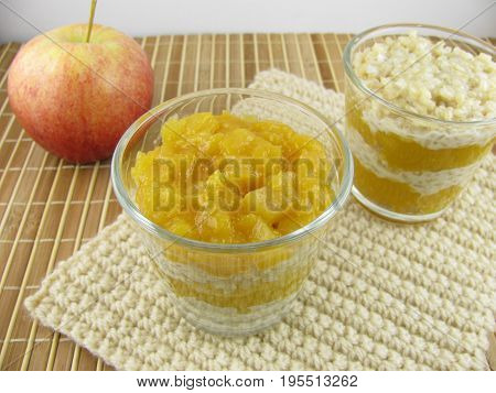 Mochi rice pudding with stewed apples and mango