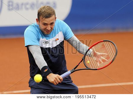 BARCELONA, SPAIN - APRIL, 27: British tennis player Dan Evans in action during a match of Barcelona tennis tournament Conde de Godo on April 27, 2017 in Barcelona Spain