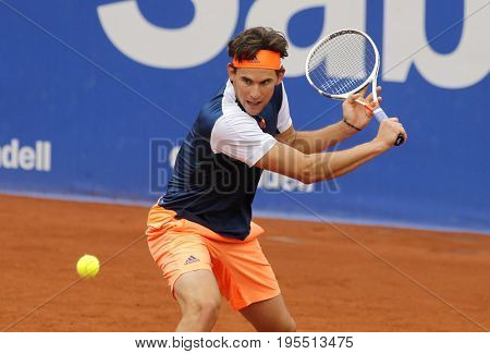 BARCELONA, SPAIN - APRIL, 27:  Austrian tennis player Dominic Thiem in action during a match of Barcelona tennis tournament Conde de Godo on April 27, 2017 in Barcelona Spain