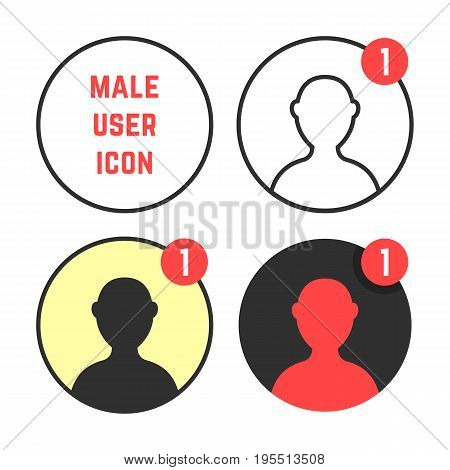 set of male user icons. concept of networking, customers, simple ui element, leader torso, character, worker. isolated on white background. flat style trend modern logo design vector illustration