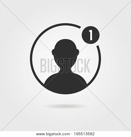 black male user icon with shadow. concept of networking, customers, simple ui element, leader torso, character. isolated on gray background. flat style trend modern logo design vector illustration