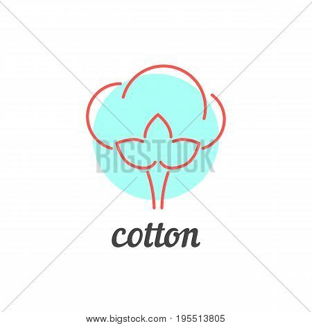 thin line cotton icon. concept of agriculture, natural fabric, fluffy floral, recycle, softness, wadding. isolated on white background. flat style trend modern logotype design vector illustration