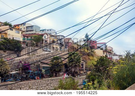 Houses On The Hill In Vina Del Mar, Chile
