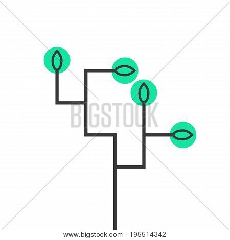 simple schematic tree icon. concept of sprouting seedling, growing, prospect of future, growth process, network. isolated on white background. flat style trend modern logo design vector illustration