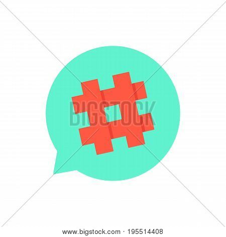green speech bubble with red hashtag. concept of micro blogging, pr, popularity, blogger, grille, grid. isolated on white background. flat style trend modern logotype design vector illustration
