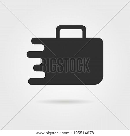 black travel suitcase icon with shadow. concept of travelling, visual identity, handbag, recreation, booking. isolated on gray background. flat style trend modern brand design vector illustration