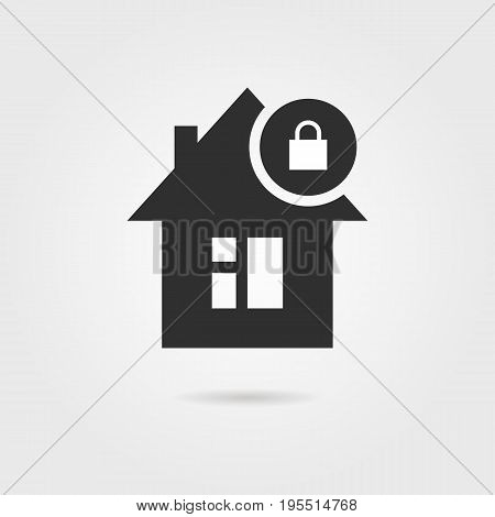 locked home icon with shadow. concept of exterior, apartment, rental, leasing, immovable property, domestic. isolated on gray background. flat style trend modern logotype design vector illustration