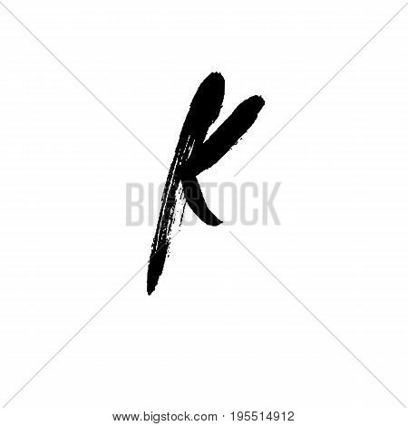 Letter K. Handwritten by dry brush. Rough strokes font. Vector illustration. Grunge style alphabet.