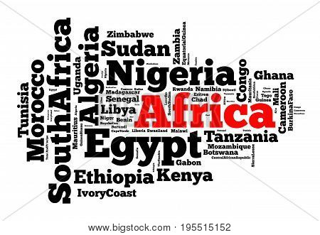 Nations in Africa word cloud concept over white background