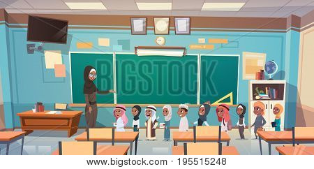 Group Of Arab Pupils With Teacher In Classroom On Lesson Education Concept Flat Vector Illustration