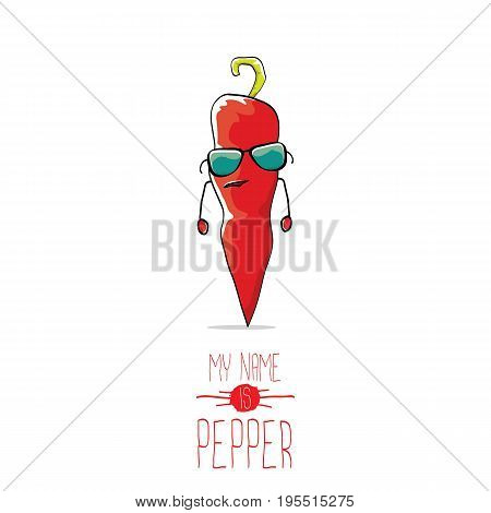 vector funny cartoon red pepper character isolated on white background. My name is pepper vector concept. vegetable funky character