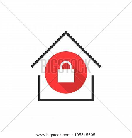 simple locked house icon. concept of exterior, apartment, rental, leasing, immovable property, domestic. isolated on white background. flat style trend modern logotype design vector illustration
