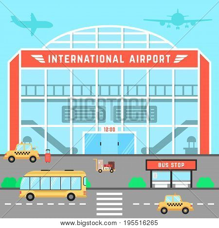 facade airport with bus stop. concept of infrastructure, aerodrome, flight arrival, airliner, transit, voyage, flight control, traffic, transfer. flat style trend modern design vector illustration