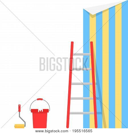 wallpaper pasting with stairs. concept of remodel, creative project, redecoration renovation, maintenance, decorator. isolated on white background. flat style trend modern design vector illustration