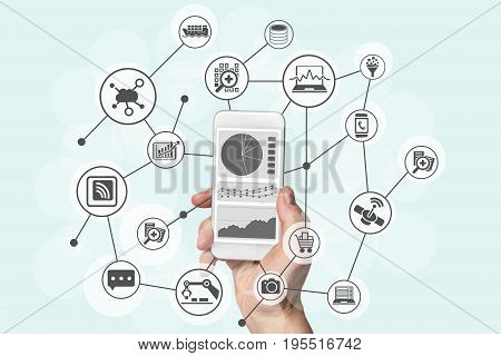 Predictive analytics and big data concept with hand holding modern smart phone to analyze data from marketing, shopping, cloud computing and mobile devices