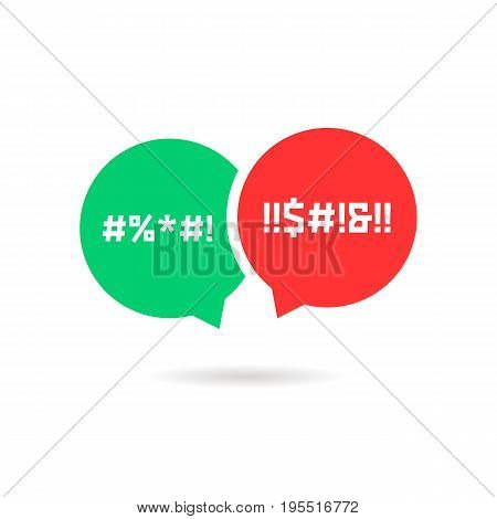 quarrel with speech bubbles. concept of parental advisory explicit content, cursing, hassle, divorce, obscene. isolated on white background. flat style trend modern logo design vector illustration
