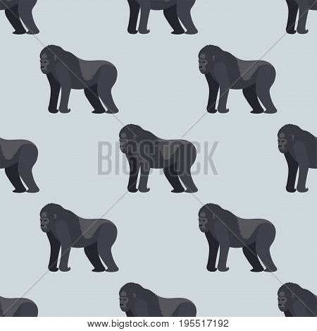 Gorila monkey rare animal vector seamless pattern. Cartoon macaque nature primate character. Wild zoo ape chimpanzee. Wildlife jungle animal mammal.