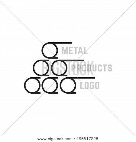 simple metal products logo. concept of reinforcement, metal-roll, metallic funnel, manufacture, steel plant. isolated on white background. flat style trend modern brand design vector illustration