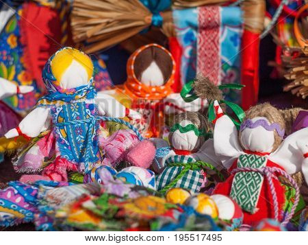 Motanka doll. Russian folk dolls, slavic charms. Traditional textile doll.