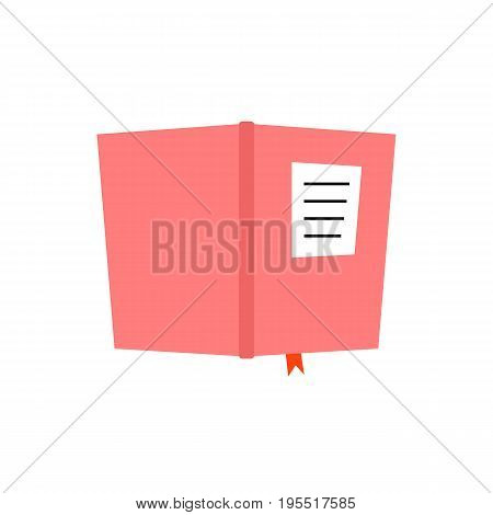 pink book diary icon. concept of planning, notepad, university item, copybook, scrapbook, novel publish. isolated on white background. flat style trend modern logotype design vector illustration