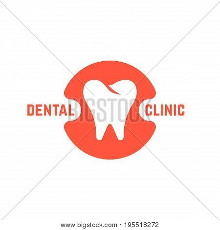 dental clinic with white tooth. concept of dental implant, dentist office mark or app, prosthetics, recovery. isolated on white background. flat style trend modern brand design vector illustration