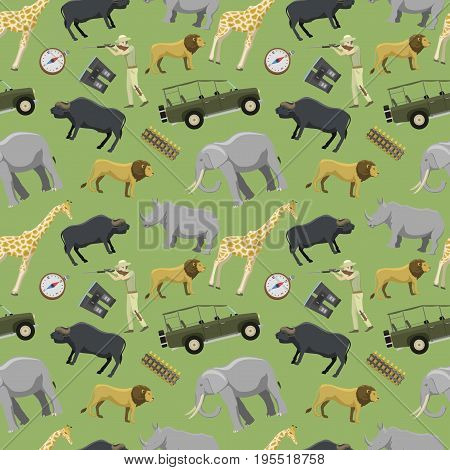 Hunter man shotgun and africa exotic safari wild animals hunting sport vector illustration seamless pattern background. Activity aim adventure tourism.