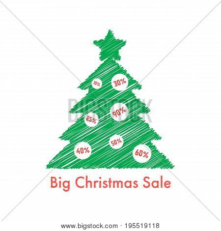 big christmas sale with scribble fir tree. concept of festive, flyer art, bargain sale, special holiday offer. isolated on white background. flat style trend modern logo design vector illustration
