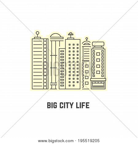 thin line skyscrapers icon. concept of city skyline, city icon, city street, city silhouette, city scape. isolated on white background. flat style trend modern city logo design vector illustration