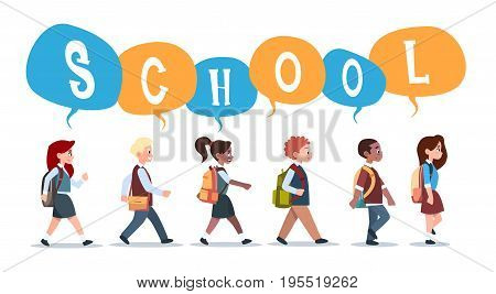Group Of Pupils Mix Race Walking Back To School Schoolchildren Isolated Diverse Small Primary Students Flat Vector Illustration