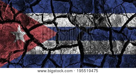Cuba flag painting on high detail cracked ground . 3D illustration