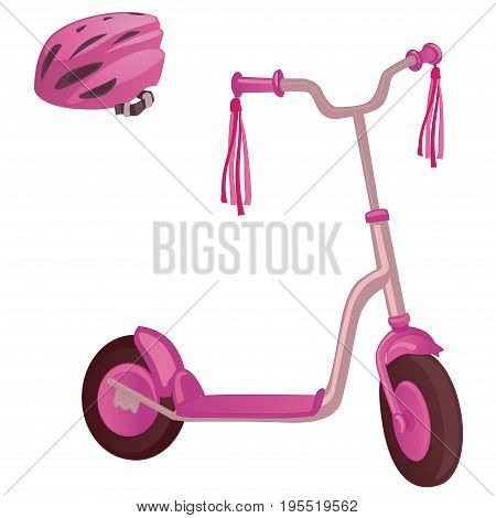 Pink color kick scooter and protective helmet. Push scooter isolated on white background. Eco transport for kids. Vector