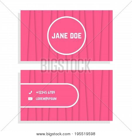 female business card with pink stripes. concept of businesslike ceremony, flyer, visual identity, visiting card. isolated on white background. flat style trend modern logo design vector illustration