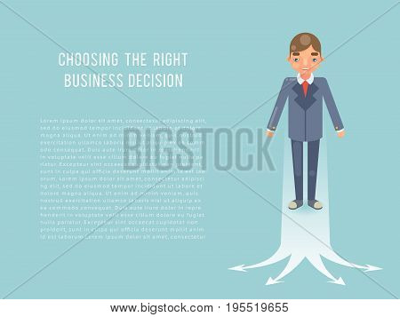 Business Strategies concept Businessman Selecting Solution Best Chice Character Symbol Flat Design Vector Illustration