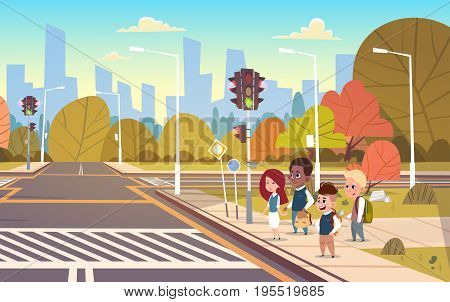 Group Of School Children Waiting For Green Traffic Light To Cross Road On Crosswalk Flat Vector Illustration