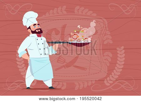 Chef Cook Holding Frying Pan With Hot Food Smiling Cartoon In White Restaurant Uniform Over Wooden Textured Background Flat Vector Illustration