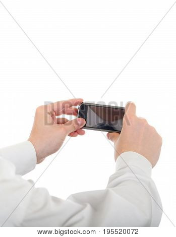 Person take a Picture with a Cellphone Isolated on the White Background