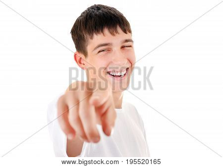 Cheerful Teenager Pointing Isolated on the White Background