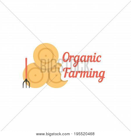 organic farming with stack of hay. concept of village, cultivate, household, homestead, ranch, garden, straw. isolated on white background. flat style trend modern logo design vector illustration