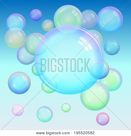 Colorful background of realistic transparent colorful soap bubbles with a rainbow reflection on a blue background. Vector illustration