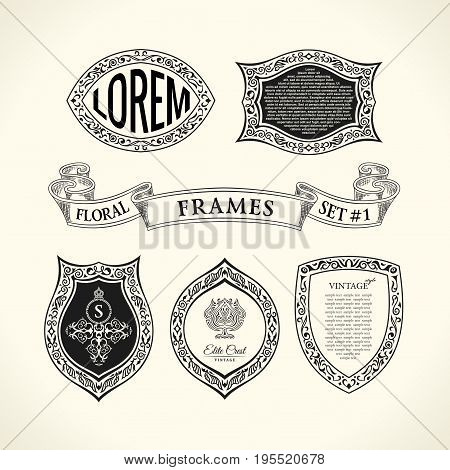 Vector Calligraphic Luxury frames set. Flourishes labels for bottle. Royal vintage Emblem design. Black symbol decor for menu card, invitation, Restaurant, Cafe, Hotel